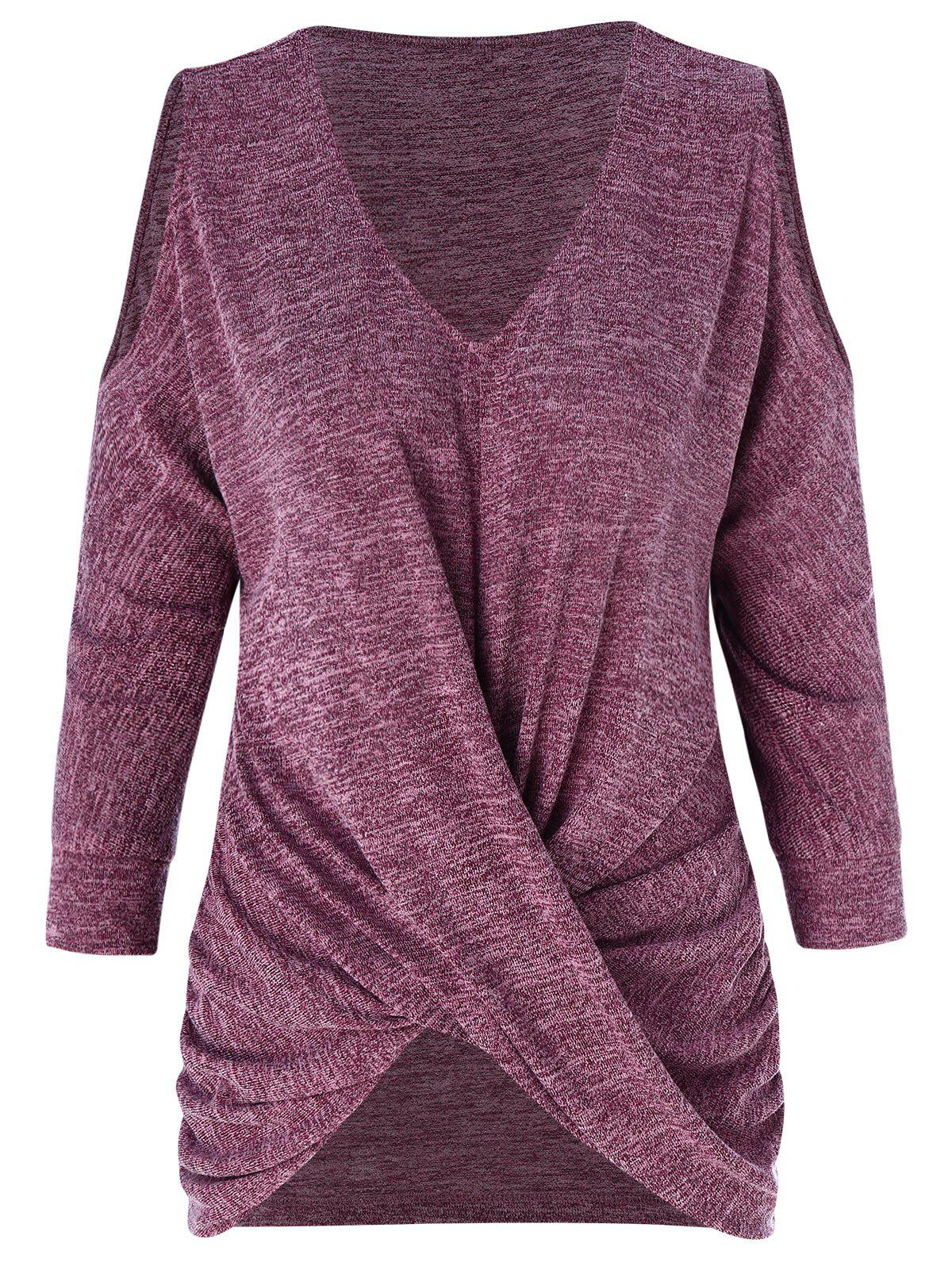 Discount Front Knot Cold Shoulder Knitwear