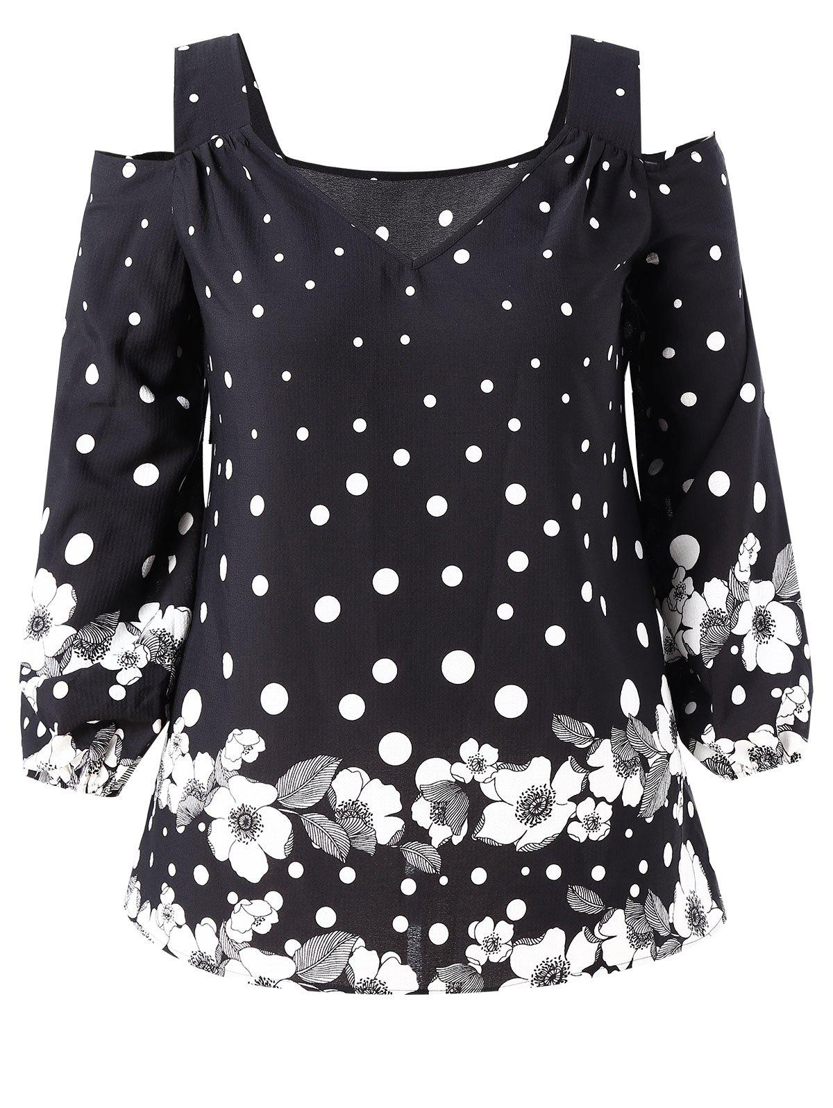 Trendy Plus Size Cold Shoulder Polka Dot Floral Print Cuff Sleeve T-shirt