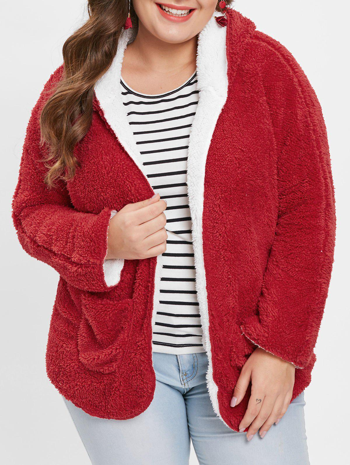 bc4748ca02f Outfit Plus Size Hooded Fluffy Coat with Open Front