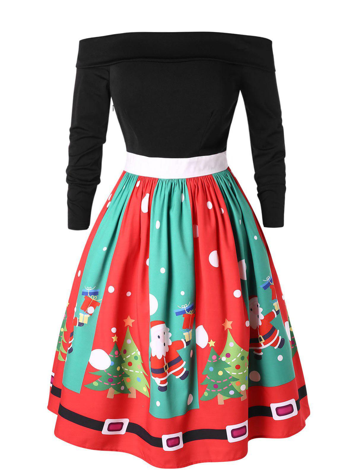 Affordable Plus Size Off Shoulder Santa Claus Christmas Flare Dress