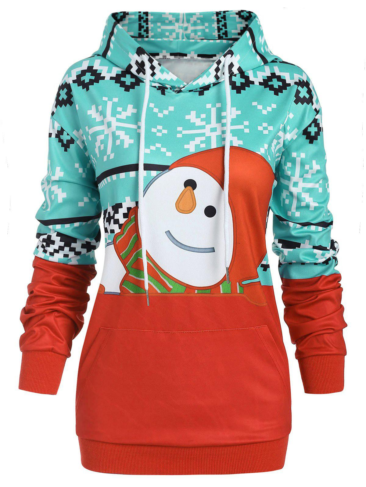 Outfits Plus Size Christma Front Pocket Pullover Graphic Hoodie