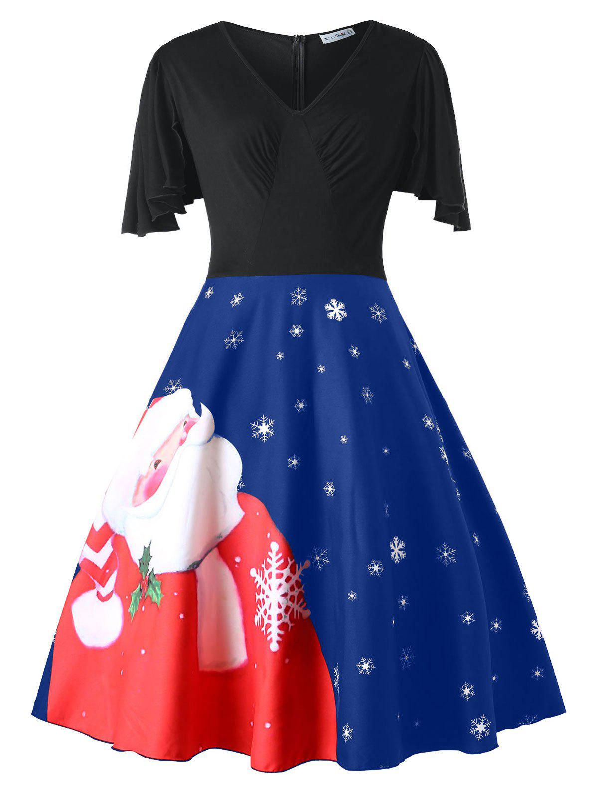 Buy Plus Size Santa Claus Print Christmas Pin Up Dress