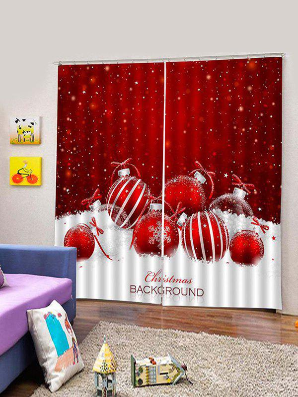 Hot 2 Panels Christmas Balls Snowflake Print Window Curtains