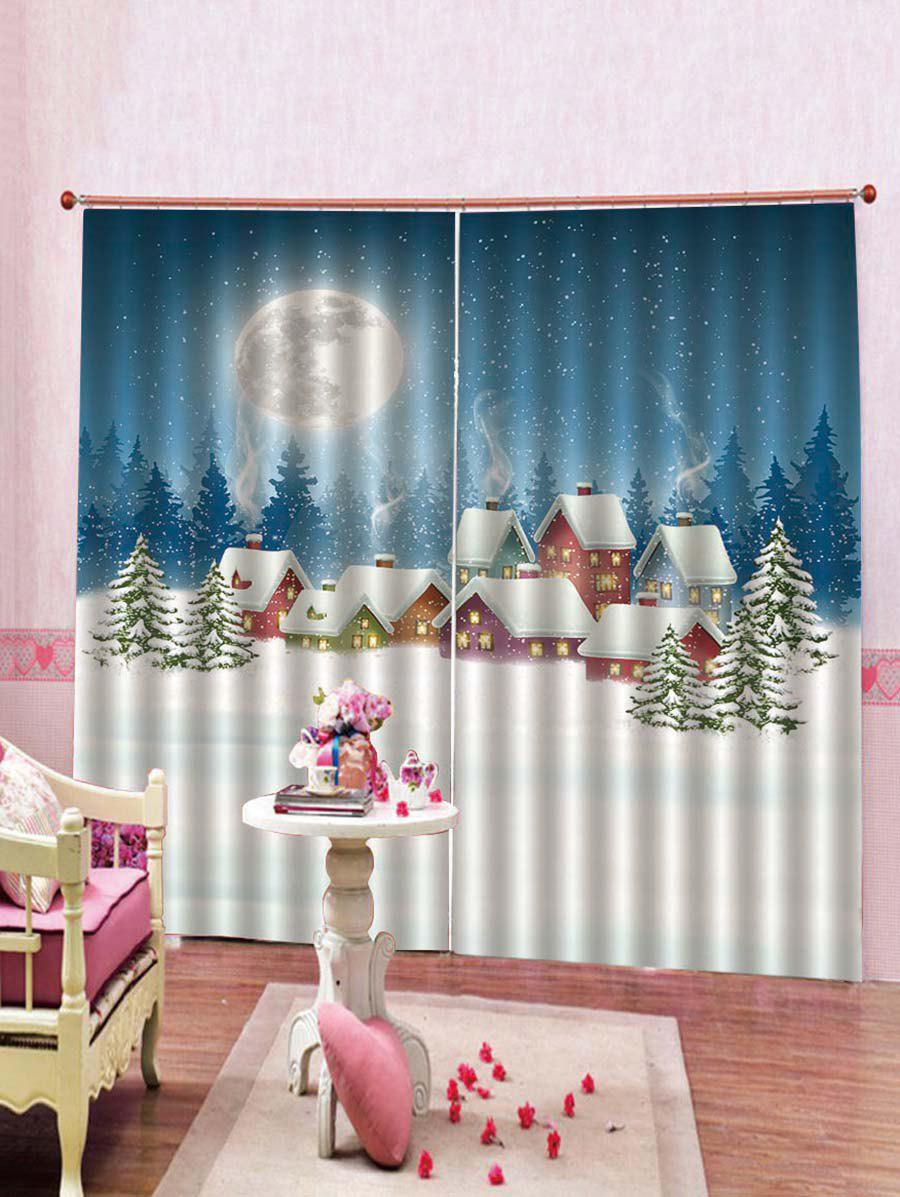 Best 2PCS Galaxy and Christmas Houses Printed Window Curtains