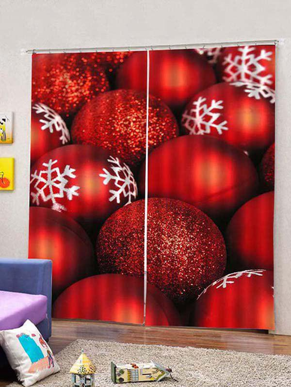 Fancy 2PCS Red Christmas Snowflake Ball Printed Window Curtains