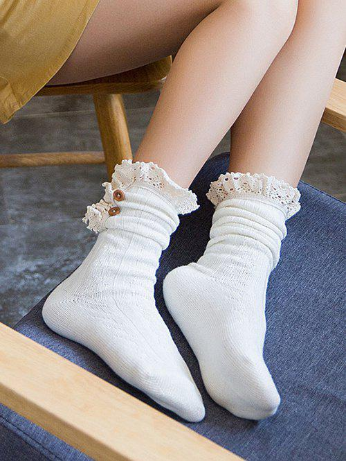 Outfit Stylish Buttons Lace Knitted Socks