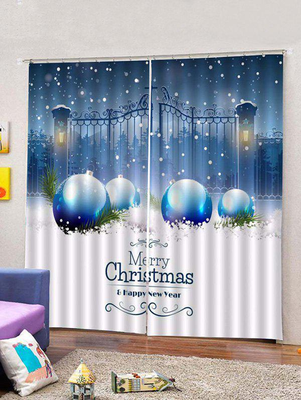Online 2PCS Iron Gate and Christmas Ball Printed Window Curtains