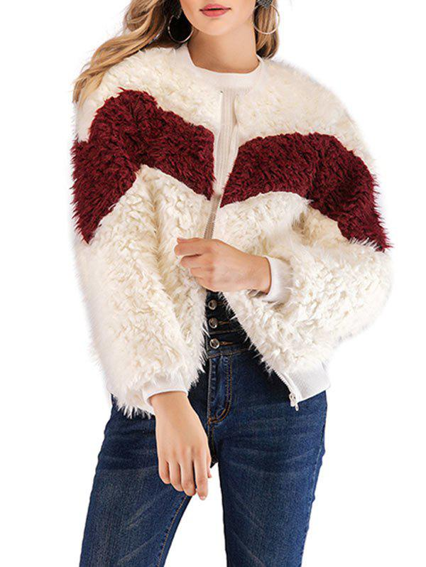 New Zip Up Faux Fluffy Coat