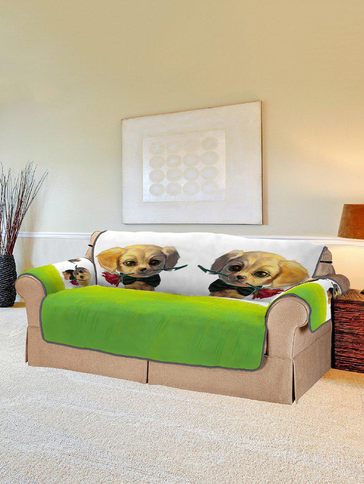 Fashion Dog with Rose Pattern Couch Cover