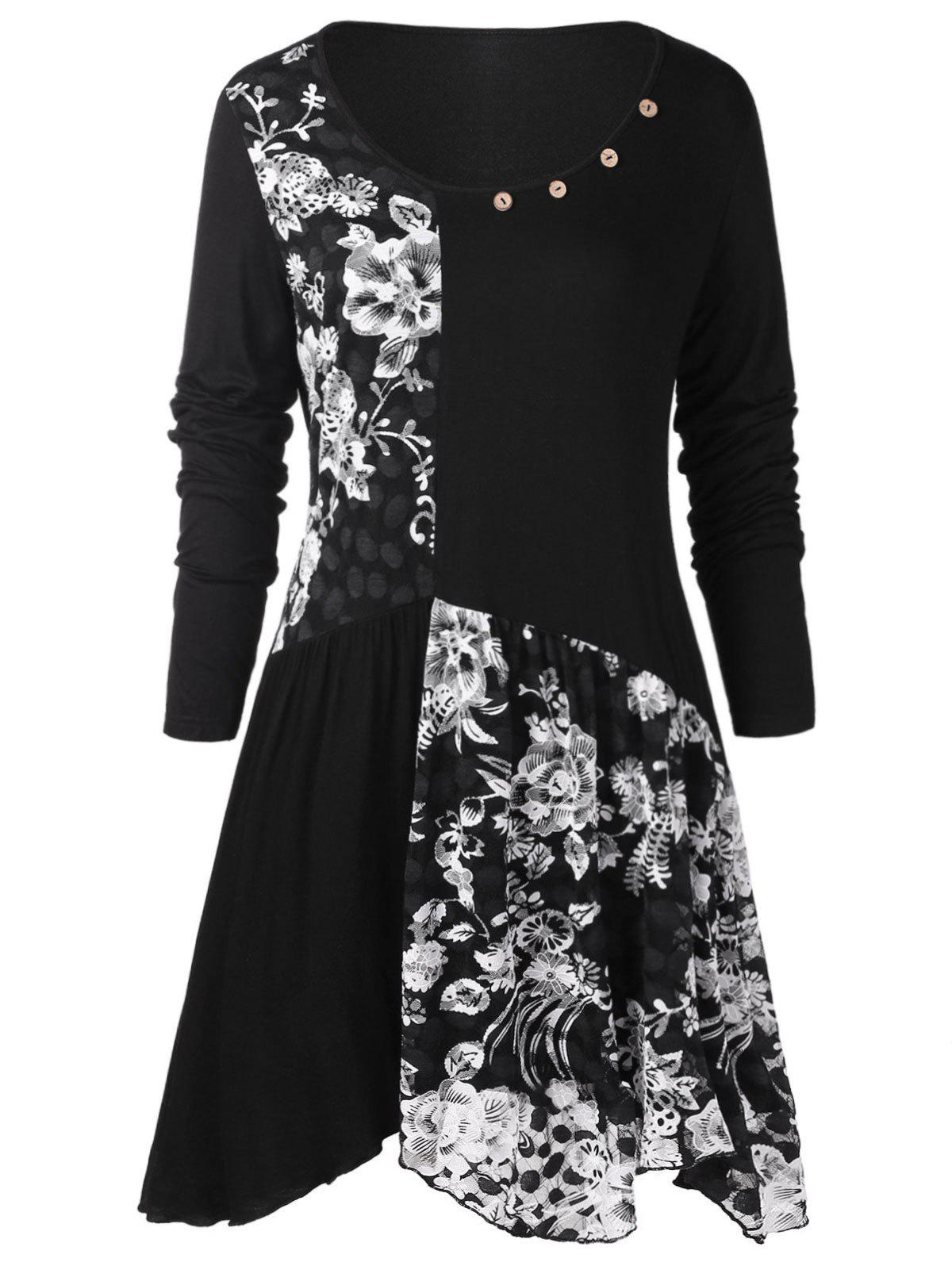 Chic Plus Size Long Sleeves Buttons Longline Floral Top