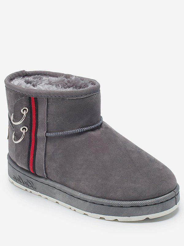 Latest Contrast Striped Suede Snow Boots