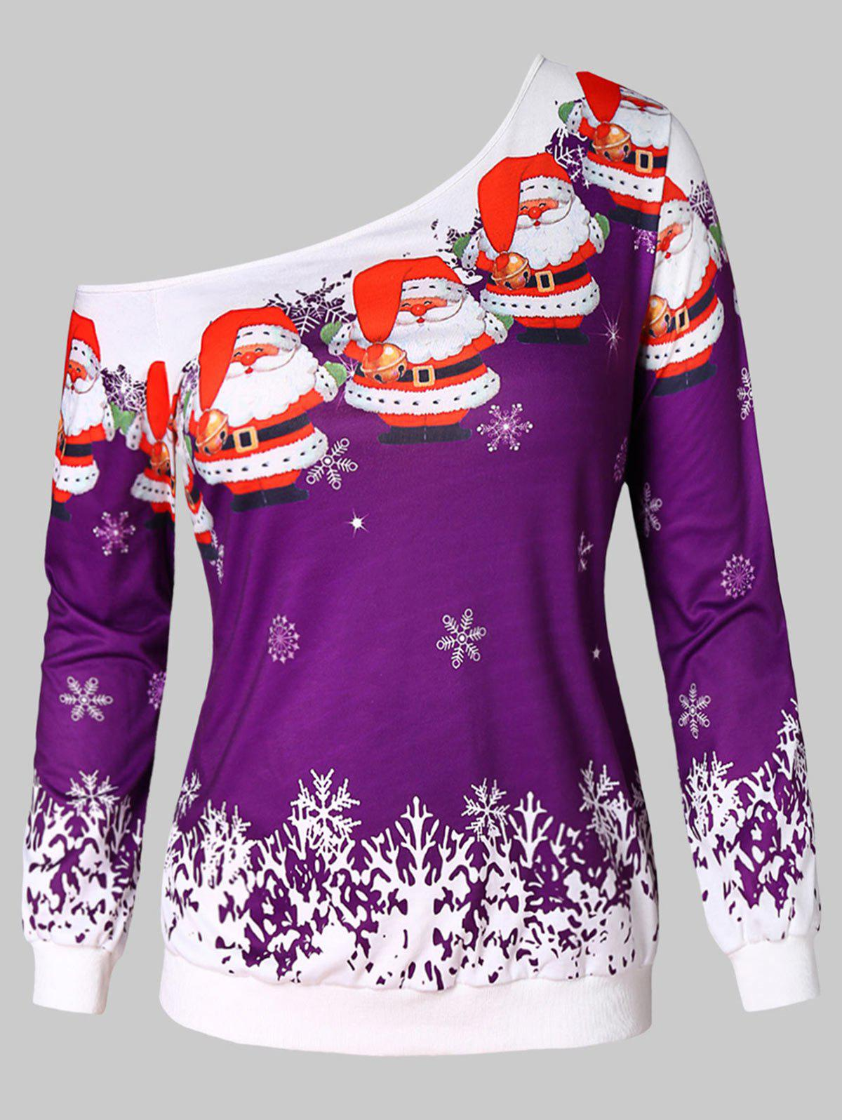 Store Snowflake and Santa Claus Print Plus Size Sweatshirt
