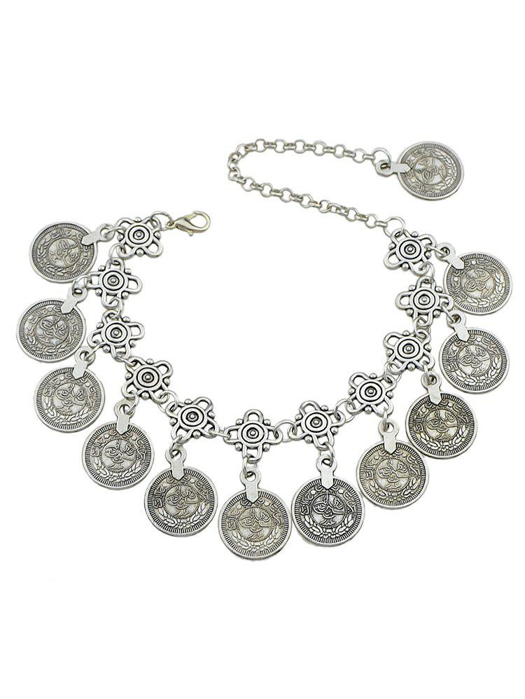 Chic Layered Coins Design Alloy Anklet