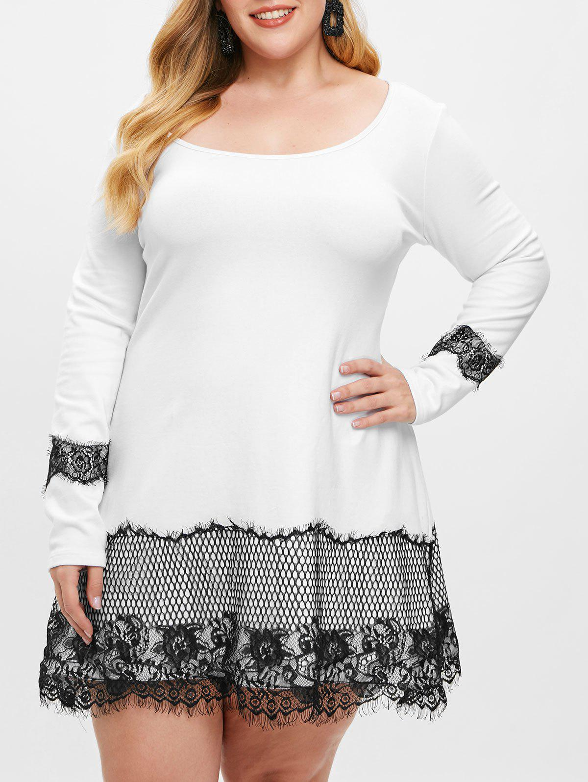 New Plus Size Lace Insert Mini T-shirt Dress