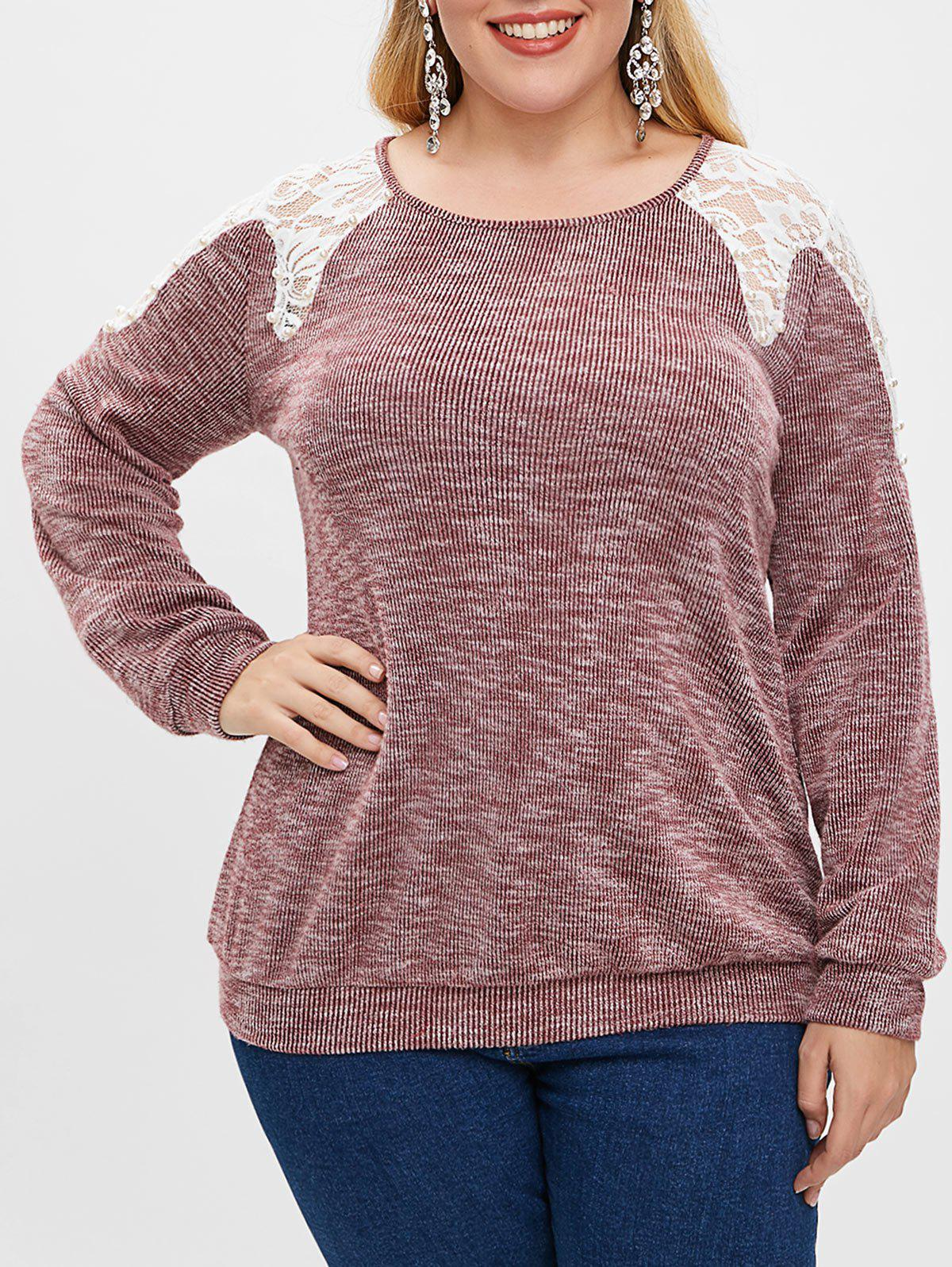 Unique Plus Size Lace Spliced Boat Neck Beaded Long Sleeves Top