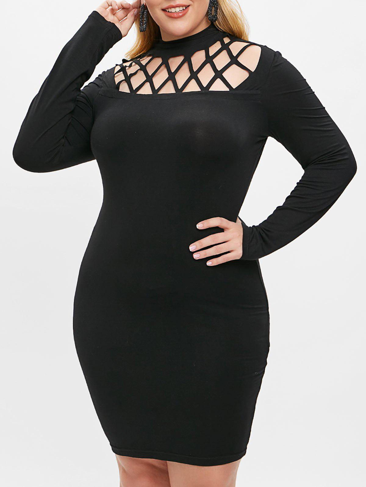 70% OFF] Plus Size Cut Out Bodycon Dress | Rosegal
