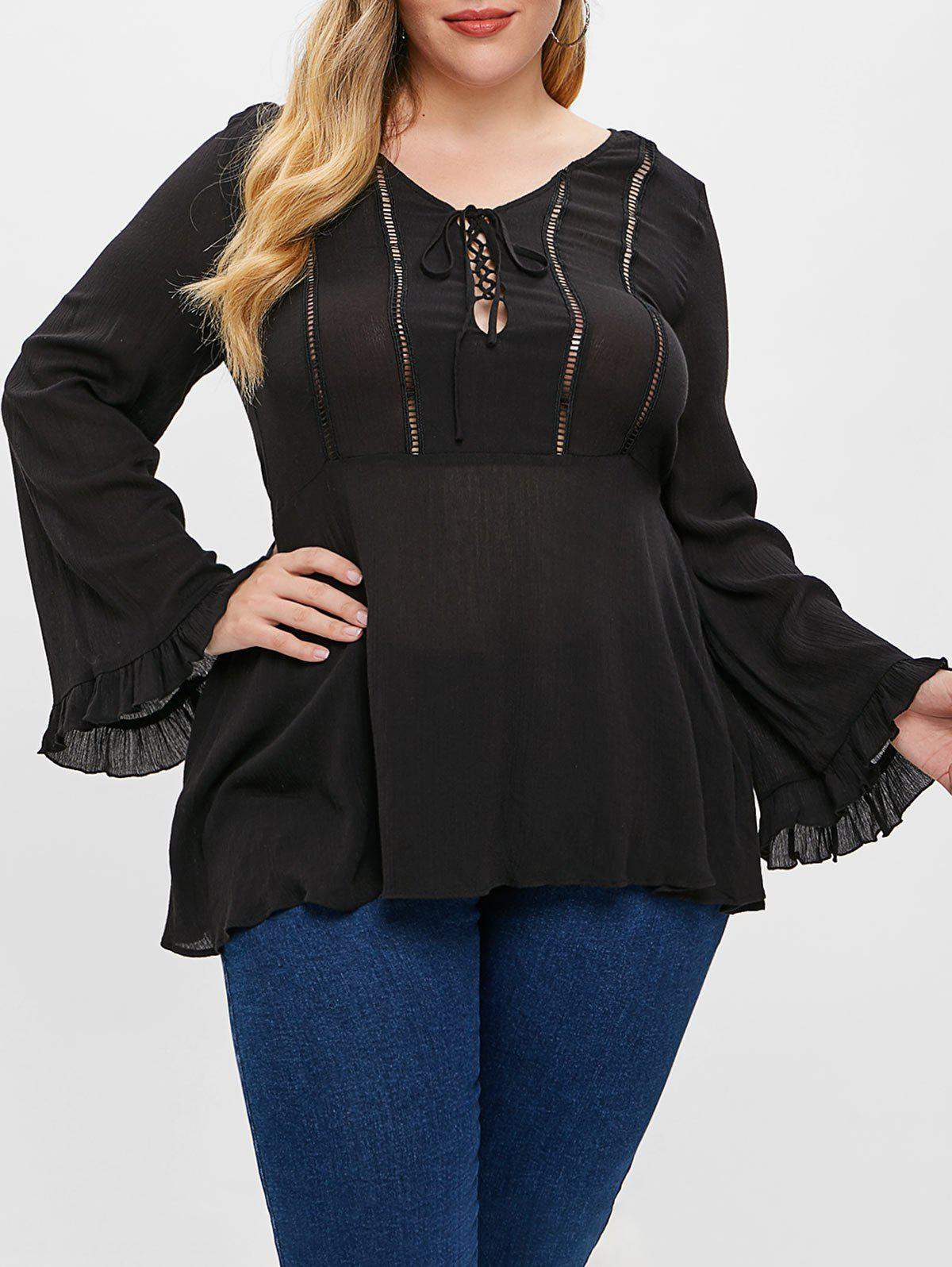 New Plus Size Lace Up Flare Blouse