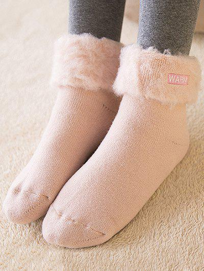Chic Warm Embroidery Flanging Winter fuzzy socks