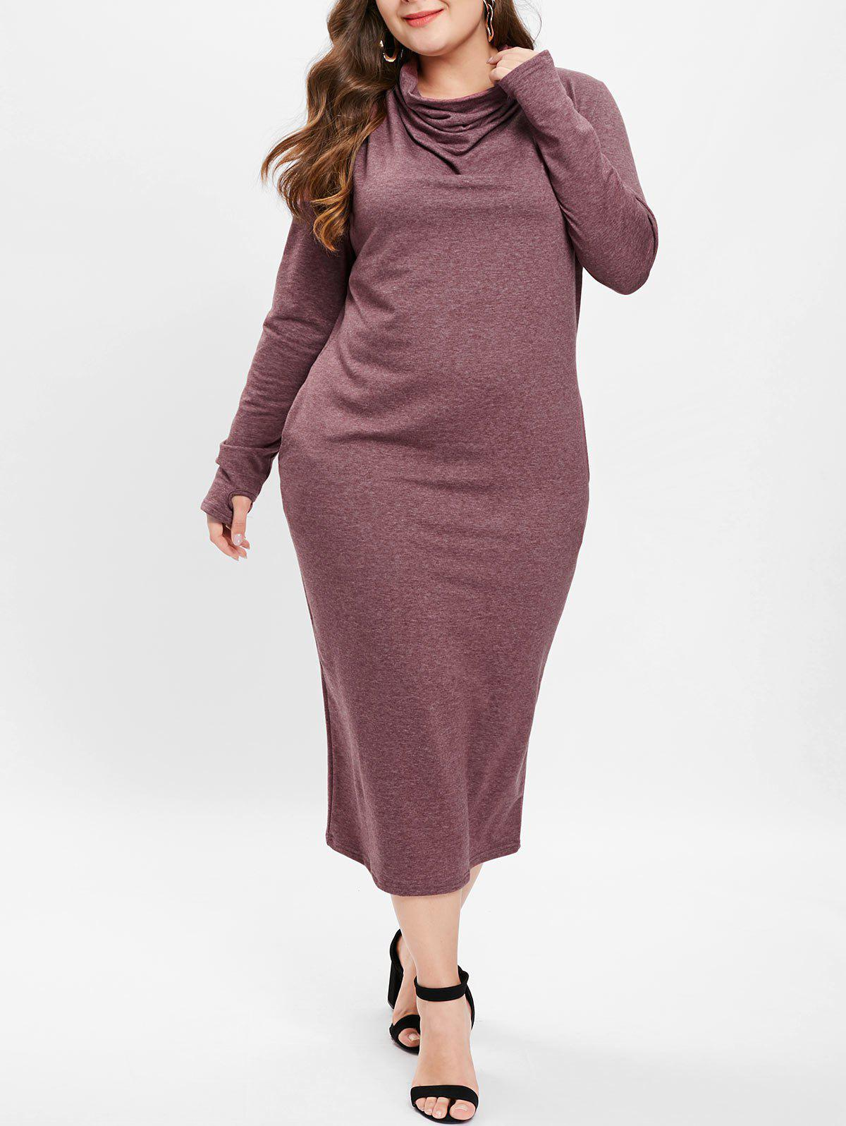 Outfit Cowl Neck Plus Size Midi Dress
