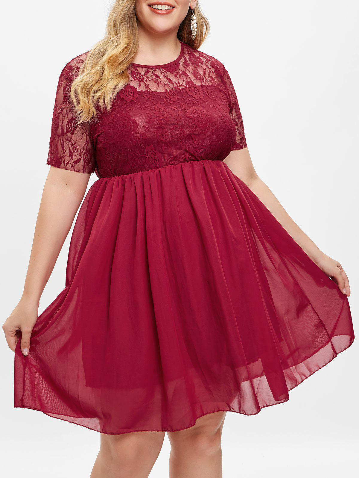 Cheap Plus Size Lace Insert Knee Length Dress