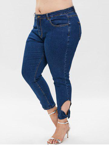 Plus Size Bowknot Cut Out Skinny Jeans
