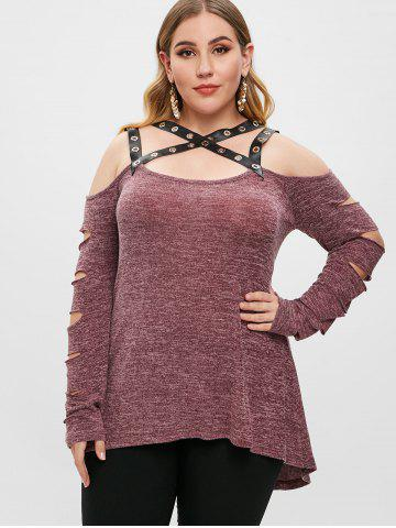 Plus Size Cut Out Long Sleeves PU Leather Straps T Shirt