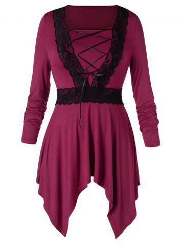 Plus Size Lace Up High Low Dress - RED WINE - L