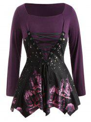 Plus Size Graphic Hankercheif Tee with Lace Up -