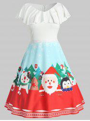 Plus Size Vintage Flounce Graphic Christmas Dress -