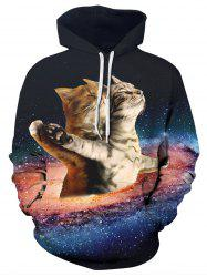 Starry Sky Cats Print Kangaroo Pocket Hoodie -