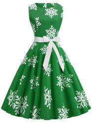 Plus Size Vintage Snowflake Print Christmas Flare Dress -