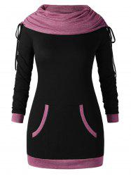 Sweat-shirt Tunique Bicolroe de Grande Taille -