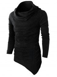 Cowl Neck Asymmetric Sweater with Side Pocket -