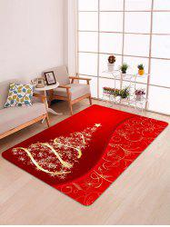 Christmas Tree and Star Print Water Absorption Area Rug -