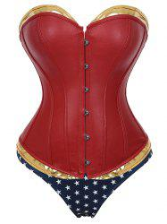 Faux Leather Corset with Star Print Briefs -