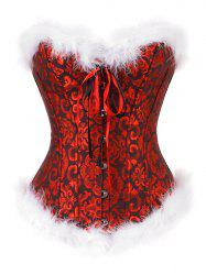 Printed Plus Size Faux Fur Hem Christmas Corset -
