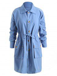 Double Pocket Drawstring Coat -