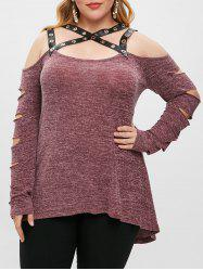 Plus Size Cut Out Long Sleeves PU Leather Straps T Shirt -