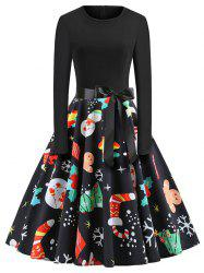 Plus Size Vintage Long Sleeves Christmas Graphic Dress -