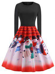 Plus Size Vintage Christmas Graphic Flare Dress -