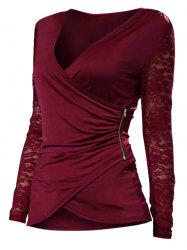 Plus Size Lace Spliced Zip Long Sleeves Wrap Tee -