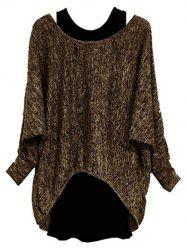 Plus Size Batwing Sleeve Two Piece Pullover Sweater -