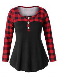 Round Neck Plus Size Plaid Panel T-shirt -