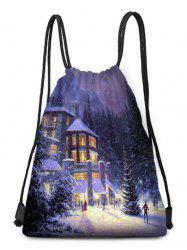 Christmas House Forest Print Drawstring Candy Bag -
