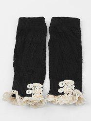 Lace Buttons Side Knitted Leg Warmers -