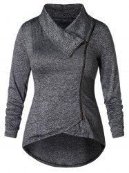 Plus Size Skew Zip High Low Jacket -