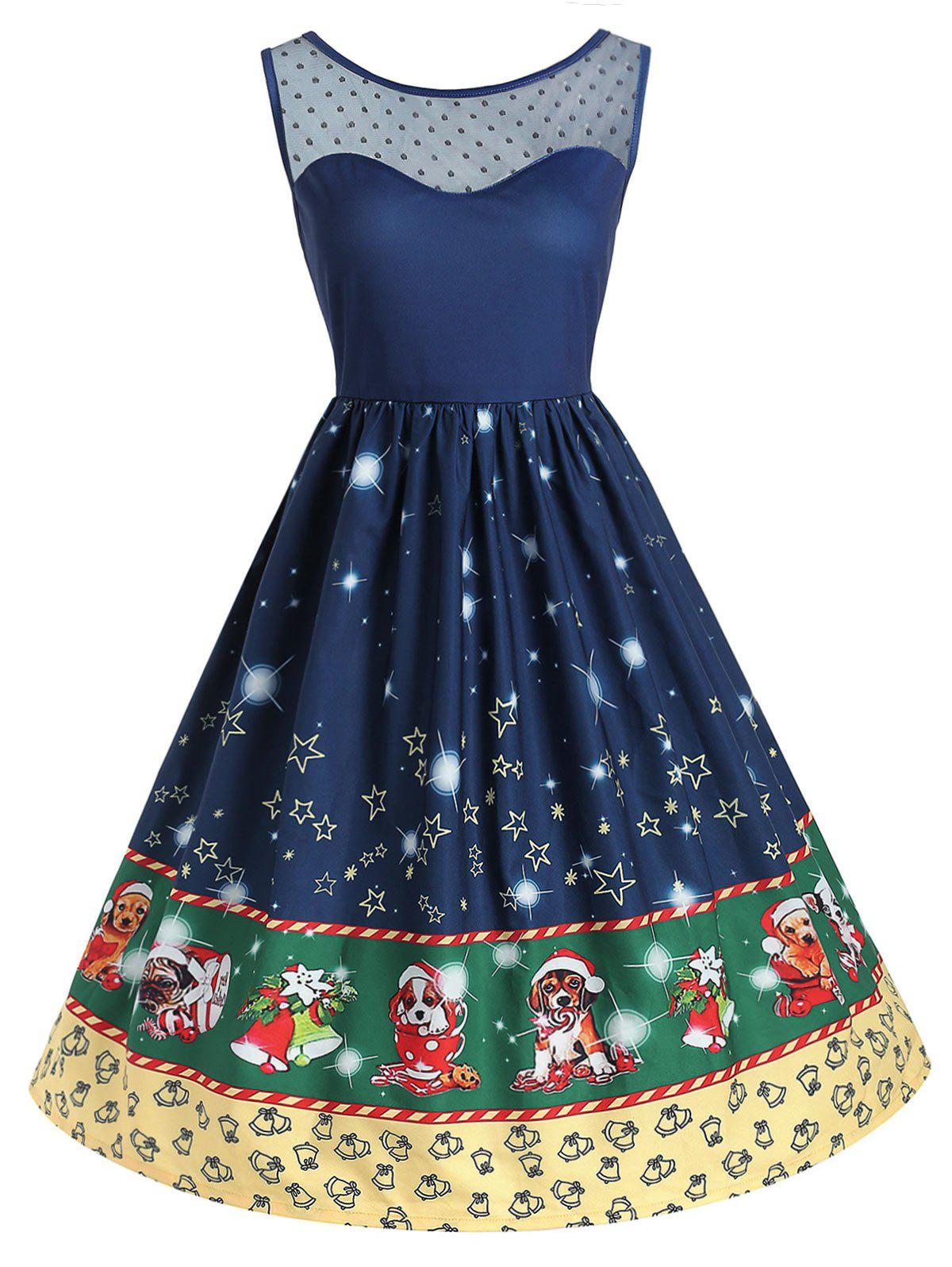 Chic Plus Size Christmas Printed Flare Dress with Mesh