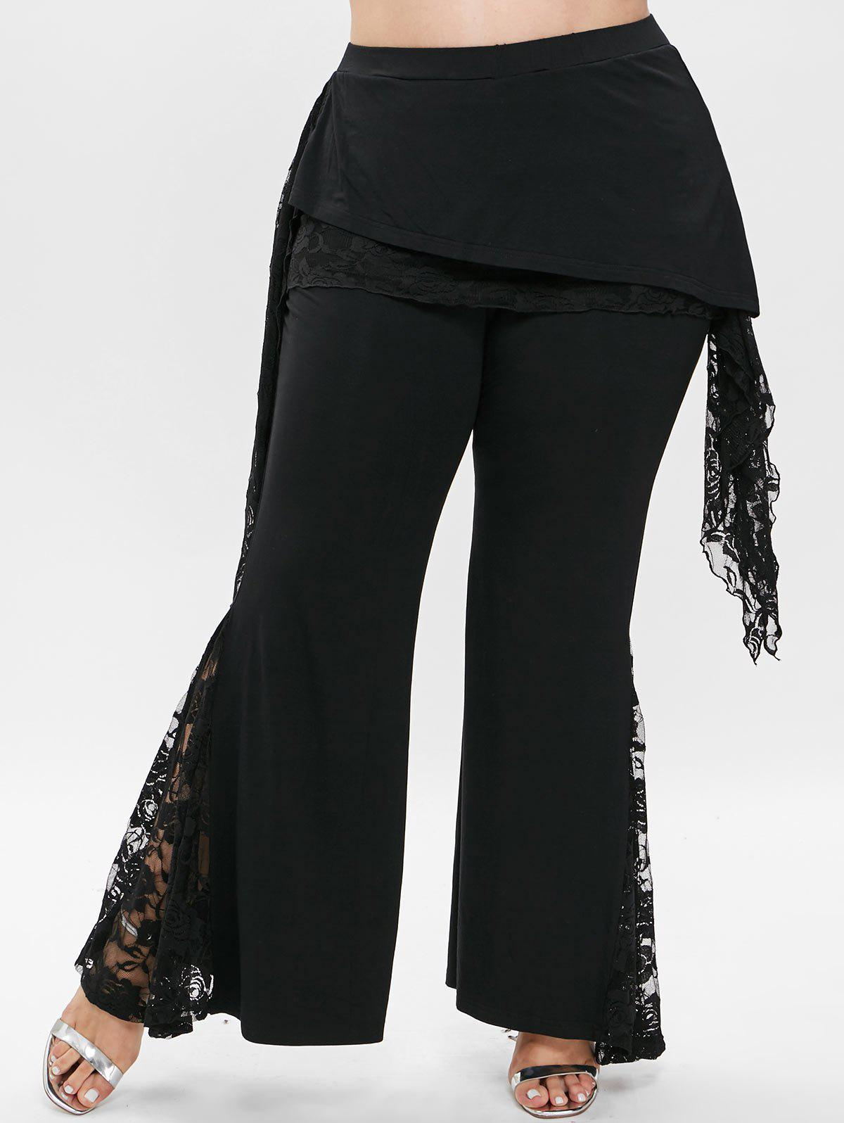 Affordable Plus Size Lace Panel Flare Pants
