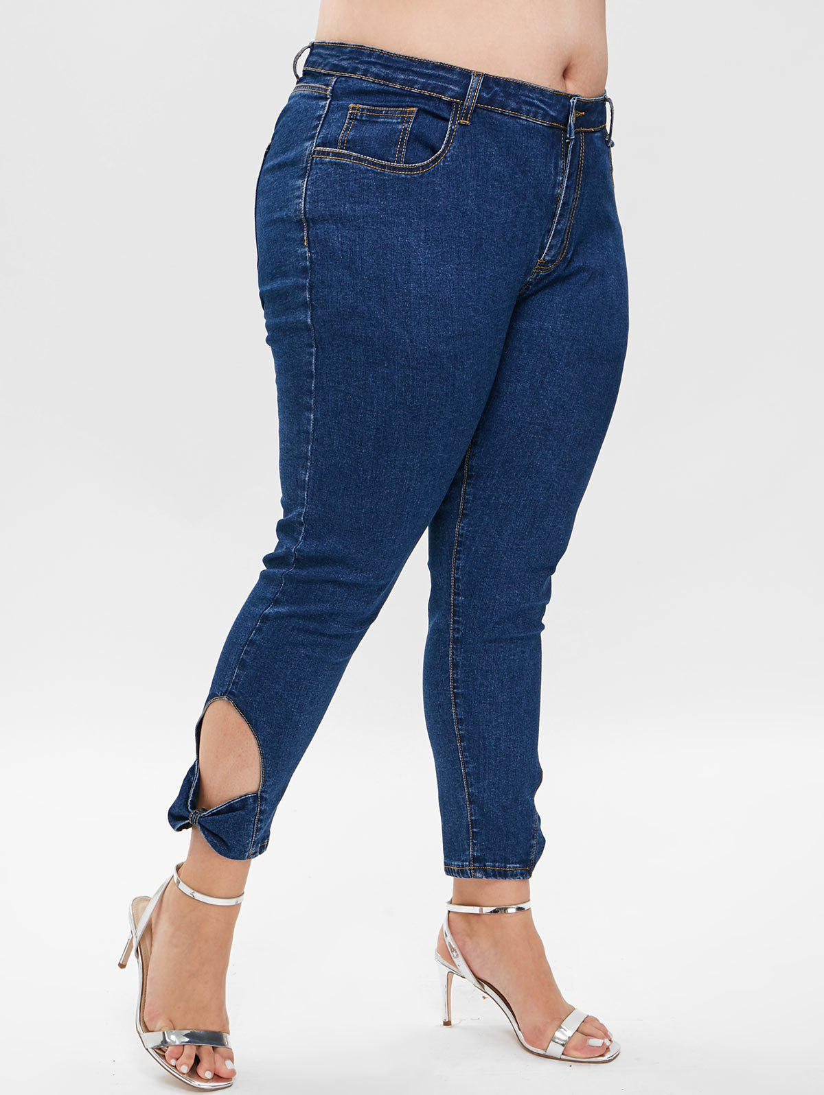 Outfits Plus Size Bowknot Cut Out Skinny Jeans