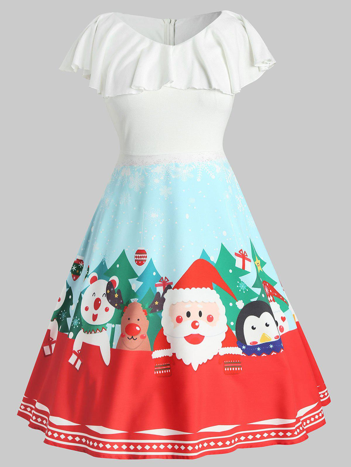 Plus Size Vintage Flounce Graphic Christmas Dress